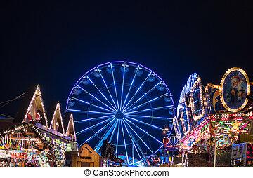 Ferris wheel on the Christmas Market in Rostock, Germany