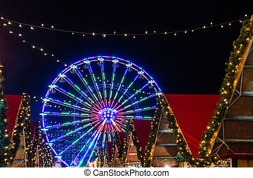 Ferry wheel on the Christmas Market in Rostock, Germany