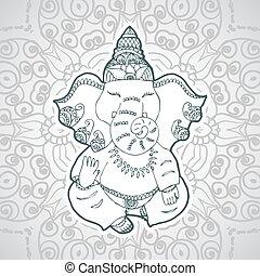 Festive illustration of the birthday of the Indian God Ganesha