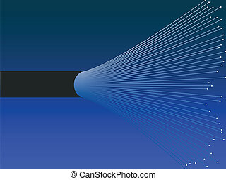 Illustration of an open fiber optic cable, with the small optical fibers from inside showing