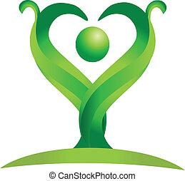 Figure of green nature logo vector
