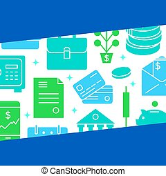 Finance and money banner in flat style with text
