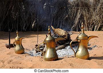 Fireplace and Arabic Coffee Pots in Abu Dhabi, United Arab Emirates