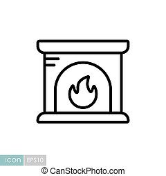 Fireplace vector icon. Winter sign