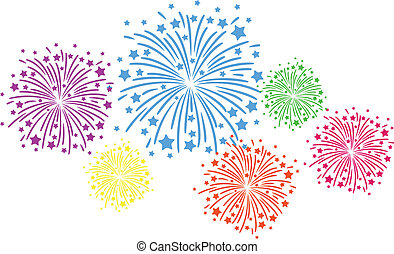 Colorful firework on black background