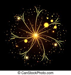 fireworks bursting in glowing yellow thin star on black background