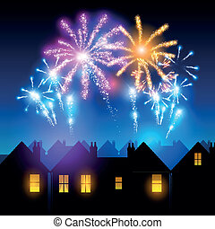 Fireworks lighting up the sky behind town houses.