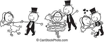 set of isolated cartoon bride and groom first dance wedding, ideal for funny invitation