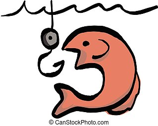 fish going for bait vector illustration sketch hand drawn with black lines isolated on white background