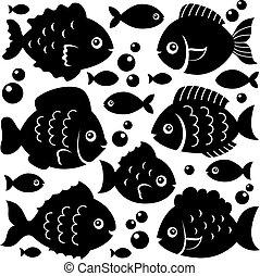 Fish silhouettes theme set 1