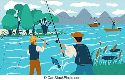 Fishing. People fish with rods from shore or on boat. Scene with happy fishermen on lake. Recreational activity and holiday leisure. Males hobby. Vector summer vacation illustration