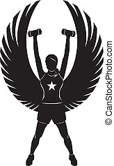 Silhouette of a winged woman exercising with weights