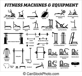 Fitness, cardio, and muscle building machines, equipments set at gym.