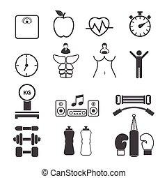 Fitness icons set