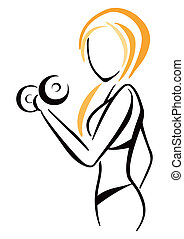 Attractive slim woman workout with dumbbell