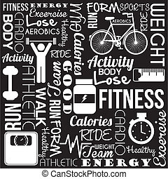 fitness words over black background. vector illustration