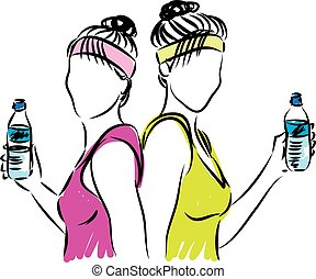 fitness women with bottle of water