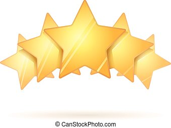 Five glossy golden rating stars with shadow on white