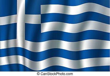 Flag of Greece 3d vector, greek blue, white banner