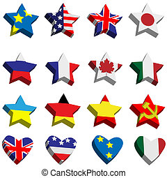 Collection of flags the countries in the form of stars and hearts