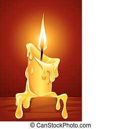 flame of burning candle with dripping wax illustration