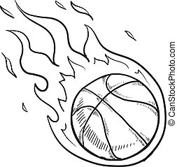 Doodle style flaming basketball illustration in vector format