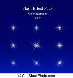 Flash Effect Pack, Light Sparkle, Glowing Camera Lens Flare, Vivid Star Burst