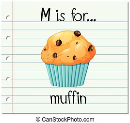 Flashcard letter M is for muffin illustration