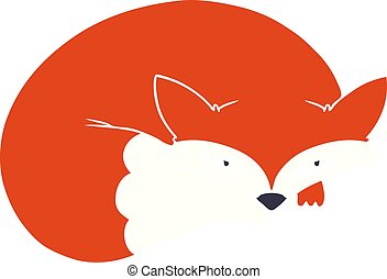 flat color style cartoon curled up fox