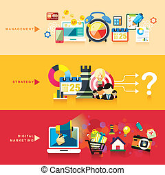 flat design concept of management, strategy and digital marketing