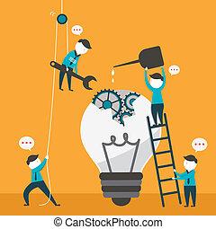 flat design vector illustration concept of team work