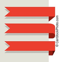 Flat design red banners vector template isolated on white background.