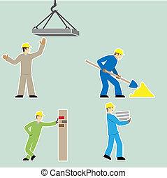 Flat design style cartoon worker icons set vector