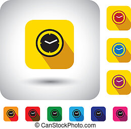 flat design vector icon - button with simple clock or watch signs. This graphic symbol with long shadows also represents the hour, minutes & seconds at present, the time now, etc