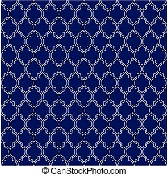 Flat outline blue moroccan seamless pattern vector