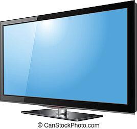 Flat screen tv lcd, plasma realistic vector illustration.