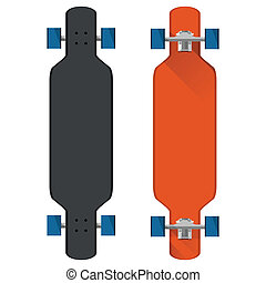 Black and red longboards with blue wheels. Two flat vector illustrations on white.