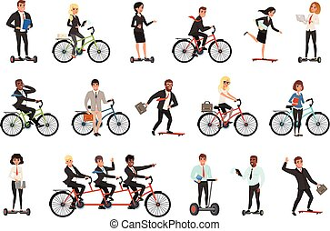 Flat vector set of office workers on different vehicles bicycle, electric hoverboard, segway, skateboard. Business people. Men and women in casual clothes