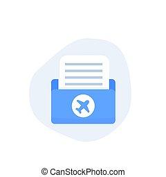 flight documents icon, flat vector