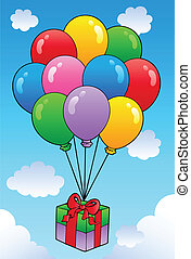 Floating gift with cartoon balloons