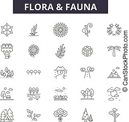 Flora and fauna line icons, signs set, vector. Flora and fauna outline concept, illustration: fauna, flora, animal, nature, design