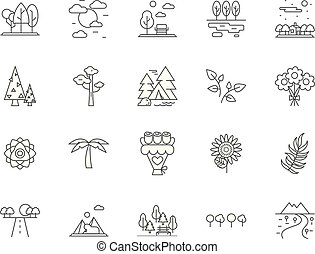 Flora and fauna line icons, signs, vector set, outline illustration concept