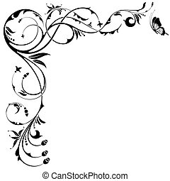Floral border with butterfly, element for design, vector illustration