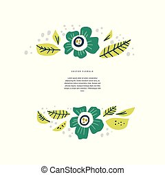 Floral border with copyspace hand drawn layout
