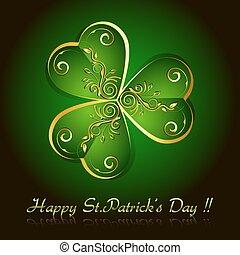 illustration of floral clover leaf of saint patrick's day