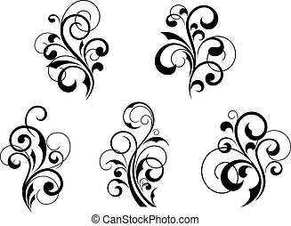 Set of beautiful floral elements and motifs isolated on white background