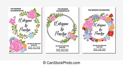 Floral Frame Collection. Set of cute retro flowers arranged in a shape of the wreath perfect for wedding invitations and birthday cards