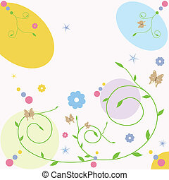 floral greeting card with butterfly