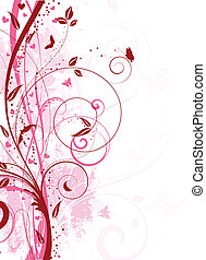 Decorative floral grunge background with hearts and butterflies