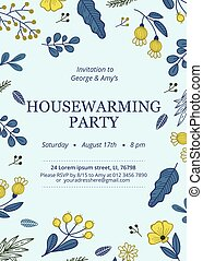 Floral housewarming party invitation template